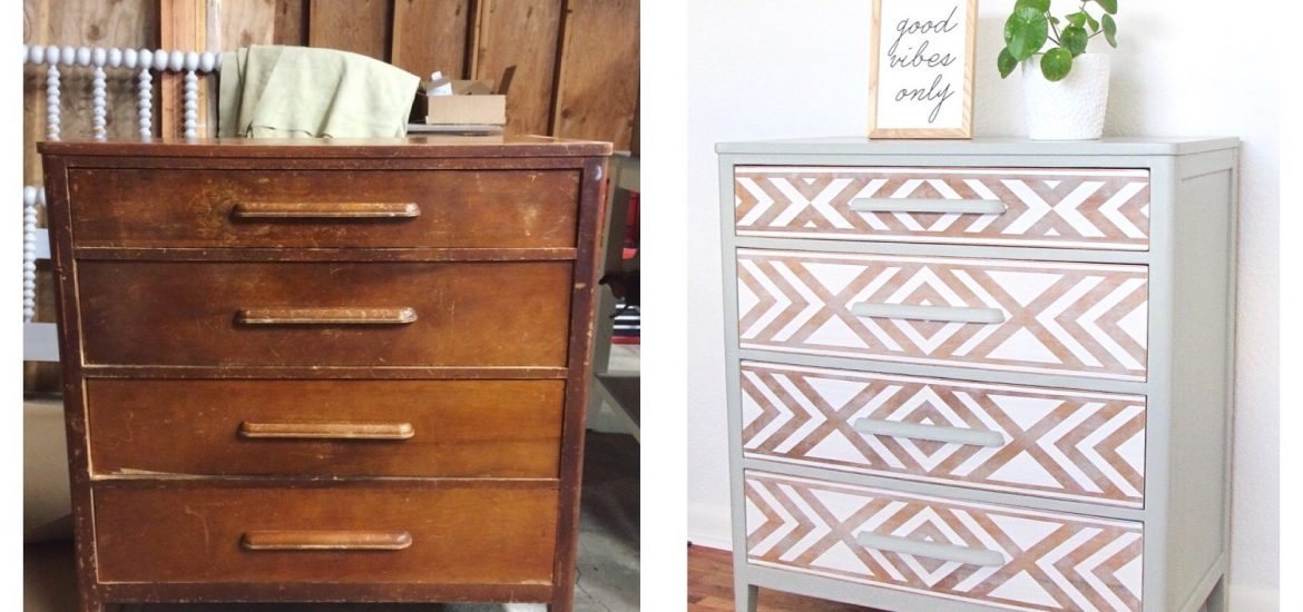Em & Wit Furniture Design~Before and After: Tribal Dresser using Frog Tape~emandwit.com