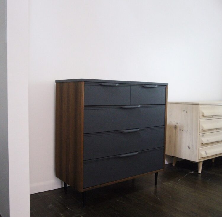 teak and dark gray dresser